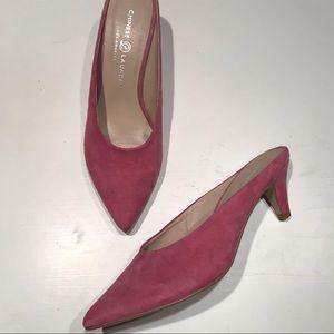 Chinese Laundry pink fuchsia heels mules slides